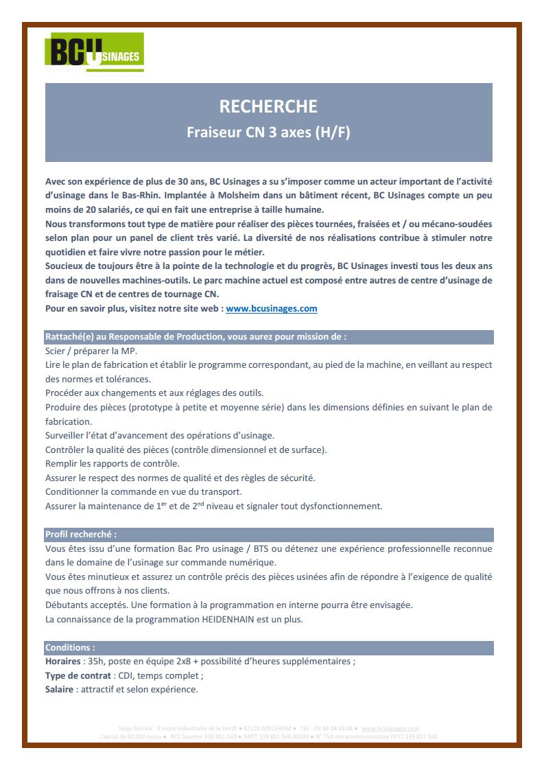 2021.02 - Annonce Fraiseur 3 axes sur CN (H/F)
